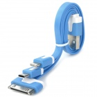 USB to 8-Pin Lightning / 30-Pin / Micro USB Data/Charging Flat Cable for iPhone / Samsung - Blue