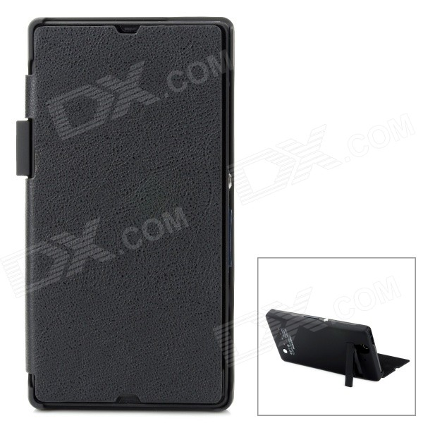 Compact 2800mAh Rechargeable Li-ion Power Back Case w/ PU Leather Cover for Sony L36h - Black