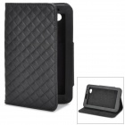 Stylish Diamond-shaped Texture Protective PU Leather Case w/ Holder for Samsung P3100 - Black