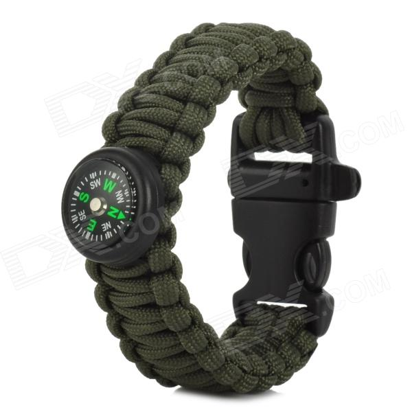Outdoor Survival Braided Wrist Bracelet Emergency Rope w/ Compass / Whistle - Army Green + Black fried green tomatoes at the whistle stop cafe a novel