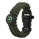 Outdoor Survival Braided Wrist Bracelet Emergency Rope w/ Compass / Whistle - Army Green + Black