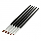 LX246810 5-in-1 Makeup Art Design Polish Painting Nail Brush Pen Set - Black + Silver