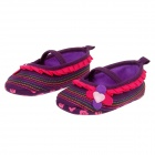 Lovely Flower Cotton Baby Shoes - Deep Purple + Deep Pink (6~9 Months / Pair)