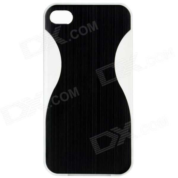 SY-C4 Protective Plastic Back Case w/ Dual SIM Card Single Pass for Iphone 4 / 4S - Black + White