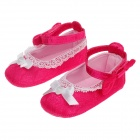 Cute Bowknot Decorated Cotton Velcro Baby Shoes - Deep Pink + White (6~9 Months / Pair)
