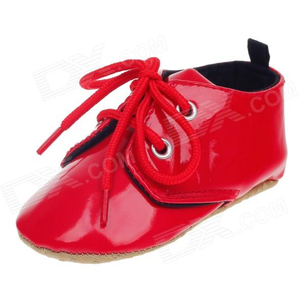 Fashionable Cute Soft Pu Baby Shoes Red 9 12 Months Pair