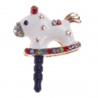 Stylish Wooden Horse Style Rhinestone + Albronze 3.5mm Anti-dust Plug for Iphone 4S + More - White