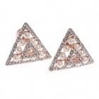 Fashionable Triangle Style + Pearl + Rhinestone Decorated Women's Earrings - Silver + Beige (Pair)