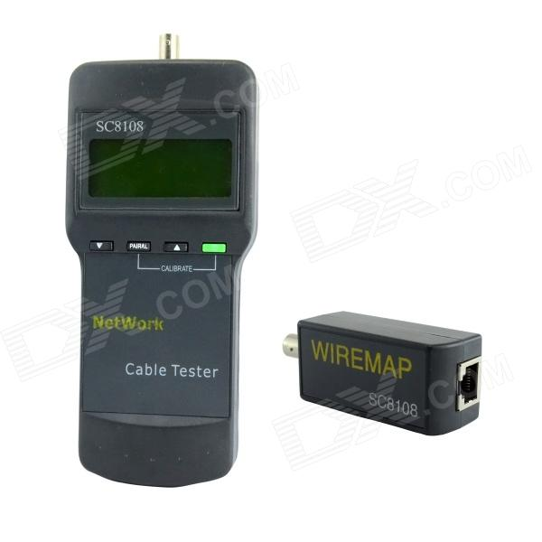 SC8108B 2.5 LCD Network Cable Tester w/ RJ-45 + BNC Interface - Grey (4 x AAA)