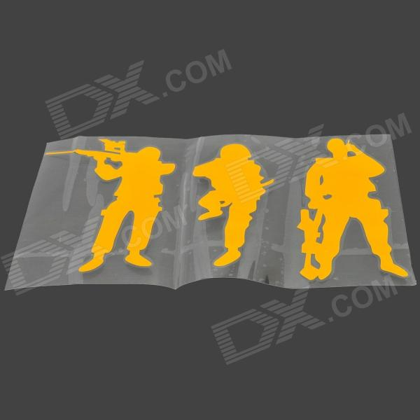 Army Soldiers Style Fashionable PVC Car Stickers Set - Golden