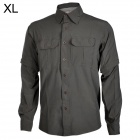 HASKY XQQ-SGY-16 Quick-drying Spandex + Nylon Dress Shirt w/ Zipper Sleeve for Men - Grey (Size XL)