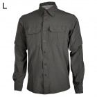 HASKY XQQ-SGY-16 Quick-drying Spandex + Nylon Dress Shirt w/ Zipper Sleeves for Men - Grey (Size L)
