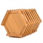 Retro Hexagon formade bambu Chopstick / servis Box - Khaki