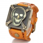 JINGYI Skull Style Analog Quartz Wrist Watch for Men - Orange + Bronze