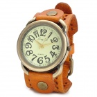 JINGYI Round Dial PU Band Analog Quartz Wrist Watch for Women - Orange + Bronze