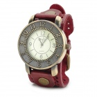 JINGYI Round Dial PU Band Analog Quartz Wrist Watch for Women - Wine Red + Bronze