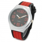 Round Dial Silicone Band Zinc Alloy Analog Quartz Wrist Watch - Red + Black + Silver
