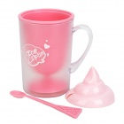 TL-0440 Fashionable Double Wall PP Cup + Spoon + Cap - Pink + White + Transparent + Light Pink