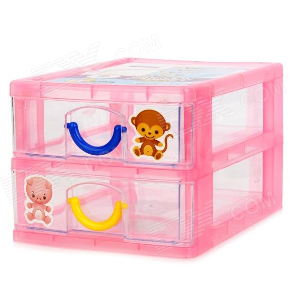 YJ430 Cute Two-deck PP Storage Organizer Box - Yellow + Blue + Pink + Transparent