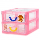 H2XD YJ430 Cute Two-deck PP Storage Organizer Box - Yellow + Blue + Pink + Transparent