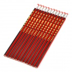 CHUNGHUA  6151 Wooden + Lead Core Pencil w/ Eraser Head - Red + Black + Golden (12 PCS)