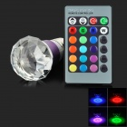 E27 3W LED RGB Light Crystal Bulb w/ 24-Key Remote Controller - Purple