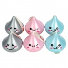 Cotton Facecloth Packed in Cute Water Drop Style Box - Pink + Blue + Gray (6 PCS)