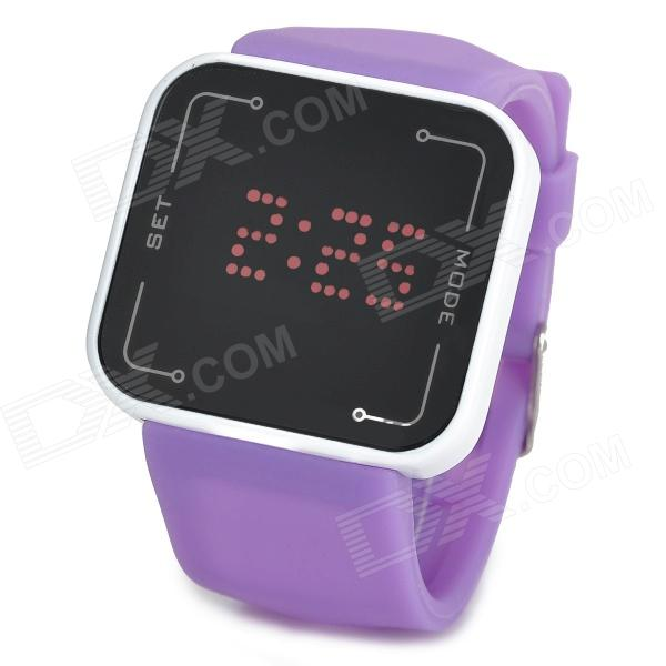 LED Touch Screen Digital Wrist Watch - Purple + White