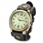 JINGYI Round Dial Analog Quartz Wrist Watch for Men - Black + Bronze