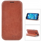 Azns Protective PU Leather Case for Samsung Galaxy S4 i9500 - Brown