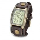 JINGYI Rectangle Shaped Analog Quartz Wrist Watch for Women - Deep Brown + Bronze