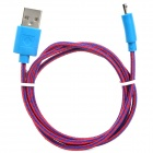 USB to Micro USB Data / Charging Nylon Cable for Samsung / HTC / LG / Xiaomi + More - Red + Blue