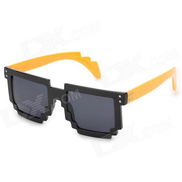 CARSHIRO UV400 Protection Resin Lens Sunglasses - Black + Yellow carshiro 77267 fashion retro style uv400 protection grey resin lens sunglasses white purple