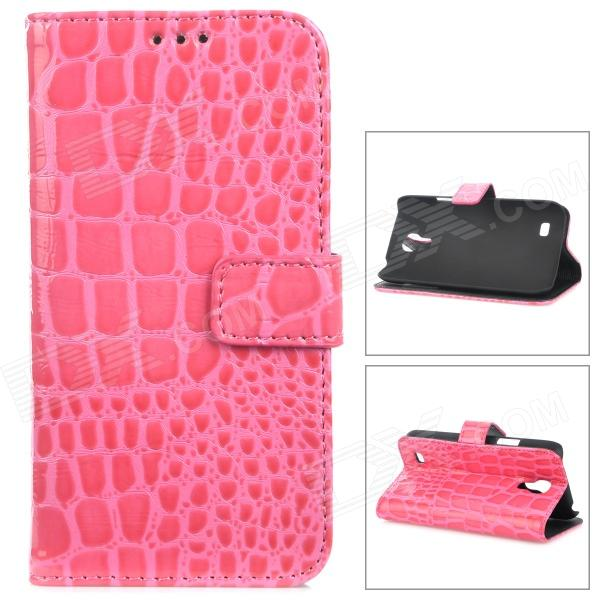 Crocodile Skin Style Protective PU Leather Case for Samsung Galaxy S4 Mini i9190 - Deep Pink cool snake skin style protective pu leather case for samsung galaxy s3 i9300 brown