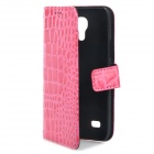 Crocodile Skin Style Protective PU Leather Case for Samsung Galaxy S4 Mini i9190 - Deep Pink