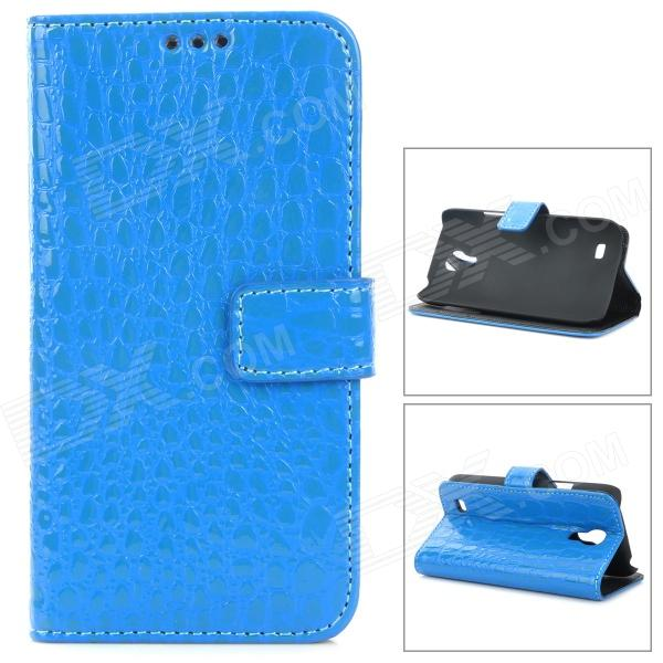 Crocodile Skin Style Protective PU Leather Case for Samsung Galaxy S4 Mini i9190 - Blue cool snake skin style protective pu leather case for samsung galaxy s3 i9300 brown