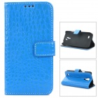 Crocodile Skin Style Protective PU Leather Case for Samsung Galaxy S4 Mini i9190 - Blue