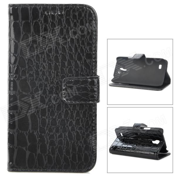 Crocodile Skin Style Protective PU Leather Case for Samsung Galaxy S4 Mini i9190 - Black cool snake skin style protective pu leather case for samsung galaxy s3 i9300 brown