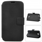Protective PU Leather Case w/ Card Holder Slots for Samsung Galaxy Mega 6.3 i9200 - Black