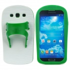 Creative Slipper Style Protective Silicone Back Case for Samsung Galaxy S3 i9300 - Green + White