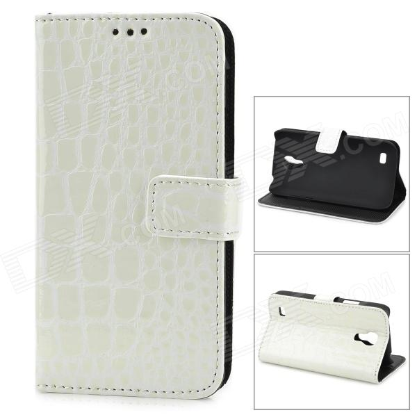 Alligator Pattern Protective Flip-Open PU Leather Case for Samsung Galaxy S4 Mini i9190 - White qi wireless charger receiver pu leather case k8 charging pad kit for samsung galaxy s4 white