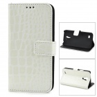 Alligator Pattern Protective Flip-Open PU Leather Case for Samsung Galaxy S4 Mini i9190 - White