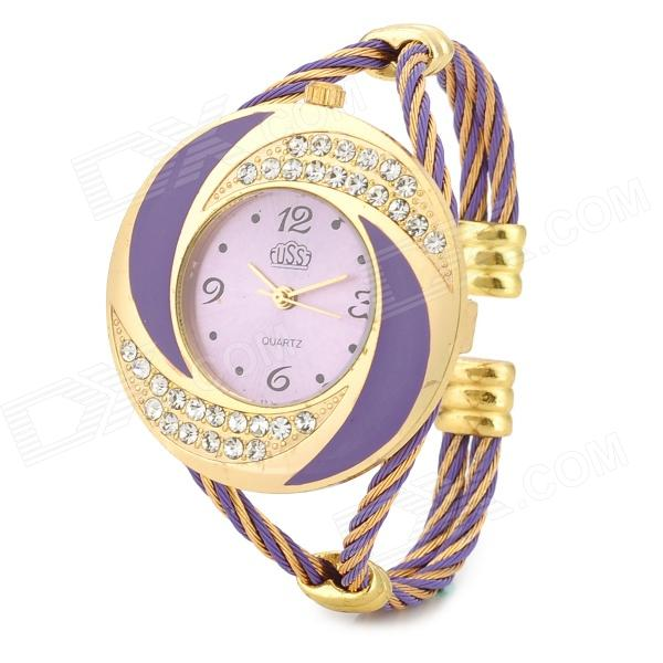 Round Steel Wire Band Titanium Alloy Analog Quartz Wrist Watch for Women - Golden + Purple l 10 women s stylish petals style bracelet quartz analog wristwatch golden white 1 x lr626