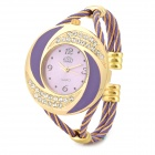 Round Steel Wire Band Titanium Alloy Analog Quartz Wrist Watch for Women - Golden + Purple