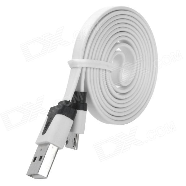 PZCD PZ-36 USB to Micro USB Sync Data Flat Cable for Samsung / HTC / Xiaomi + More - White + Black pzcd pz 41 usb 2 0 male to micro usb male data sync flat cable for samsung htc more green