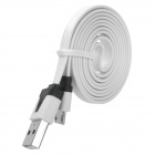 PZCD PZ-36 USB to Micro USB Sync Data Flat Cable for Samsung / HTC / Xiaomi + More - White + Black