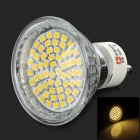 LeXing LX-012+C GU10 3W 120lm 3300K 60-SMD 3528 LED Warm White Spotlight Bulb w/ Cover - Silver