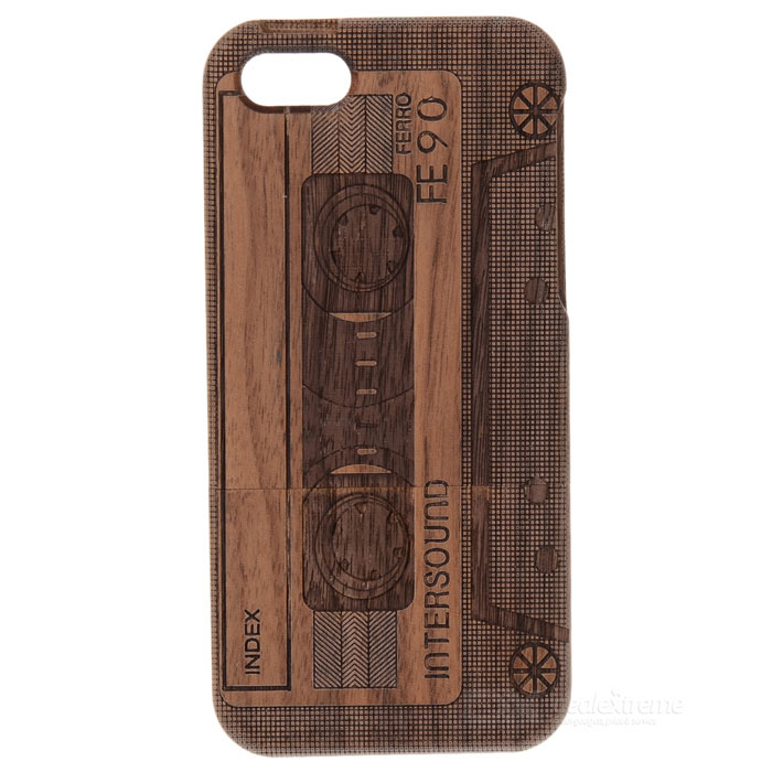 все цены на  Retro Cassette Pattern Protective Walnut Wood Back Case for Iphone 5 - Black + Brown  онлайн