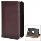 Lichee Pattern 360 Degree Rotatable PU Leather Case for Samsung Galaxy Tab 3 P3200 - Deep Brown
