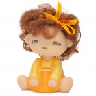 C1GL Mocmoc Doll Style Car / Home Shaking Display Toy w/ Adhesive Tape - Yellow + Beige + Brown